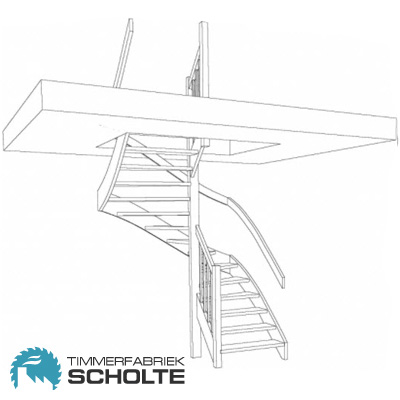 Houten trap op maat nodig timmerfabriek scholte voor for Looplijn trap
